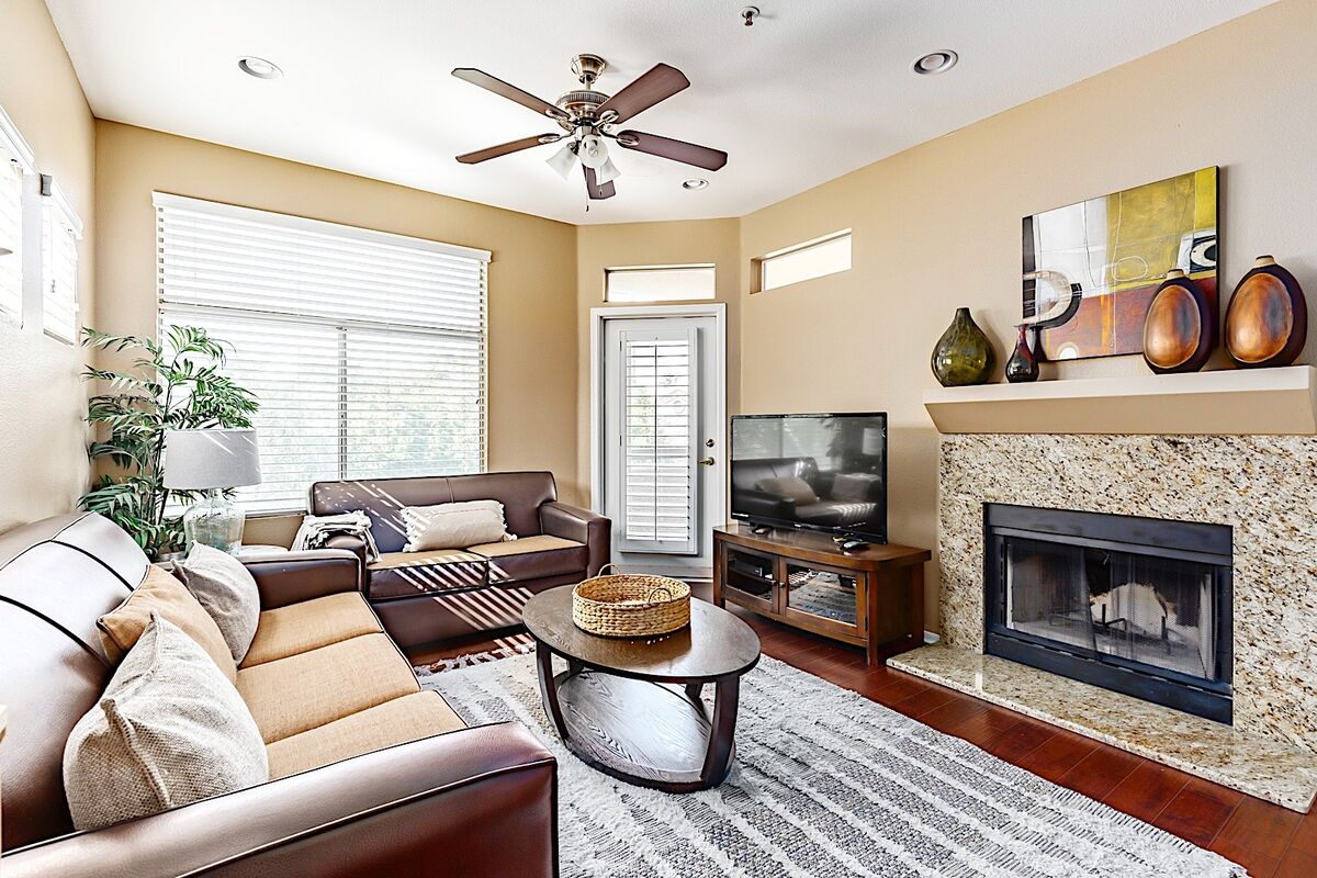 Warm and inviting living room with fireplace