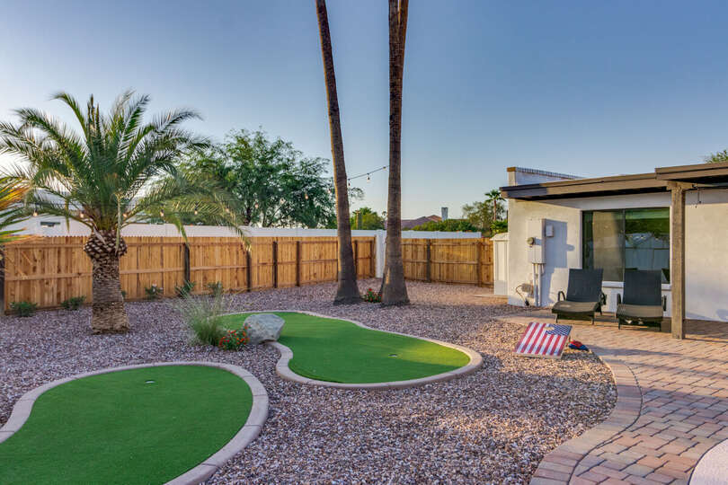 Backyard with putting greens