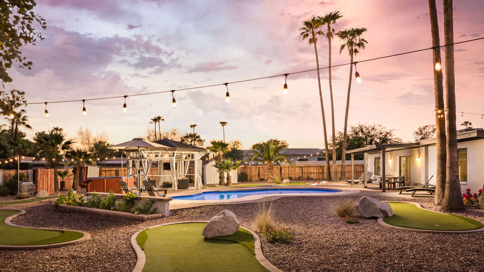 Backyard and Pool during sunset