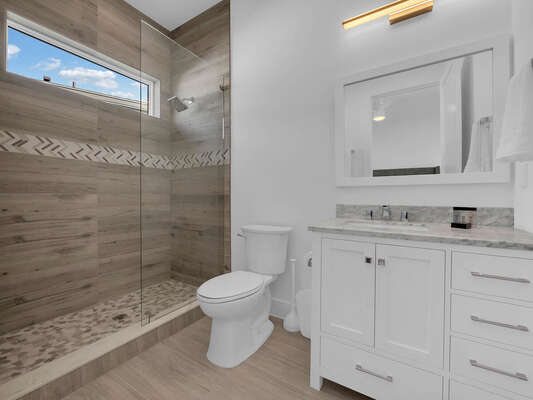 The hallway bathroom has a shower/tub combination.