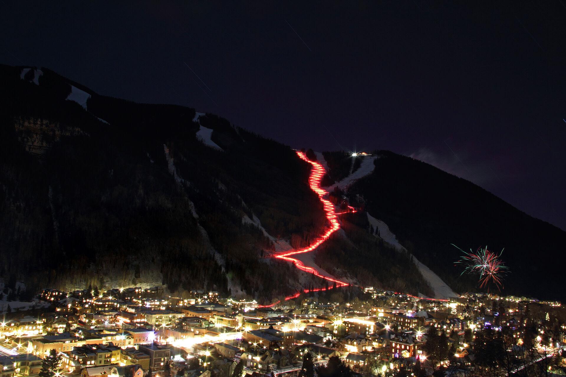 Night time skiing