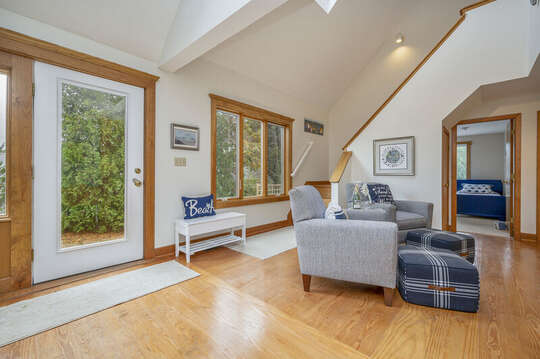 Family room and staircase to second floor. 350 Barn Hill Road Chatham Cape Cod - New England Vacation Rentals