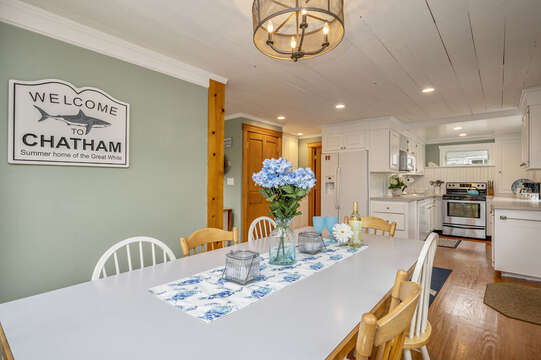 Dining area looks into kitchen. 350 Barn Hill Road Chatham Cape Cod - New England Vacation Rentals