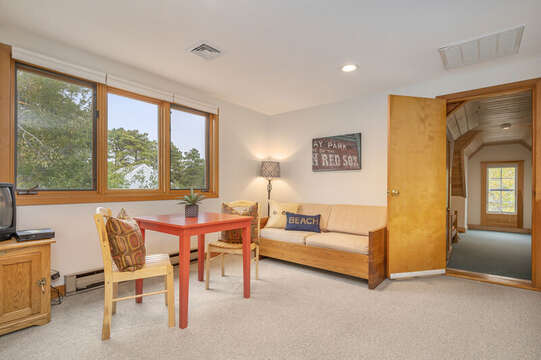 Loft sitting area with TV and pull out couch for extra guests. 350 Barn Hill Road Chatham Cape Cod - New England Vacation Rentals