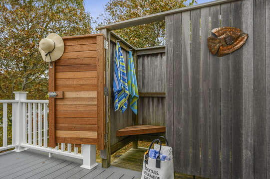 Enclosed out door shower. 350 Barn Hill Road Chatham Cape Cod - New England Vacation Rentals
