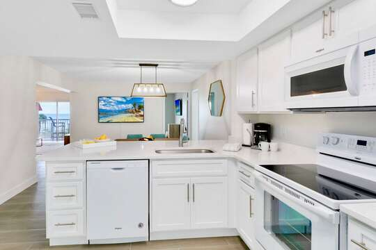 Fully upgraded kitchen with everything you need and views of the ocean.