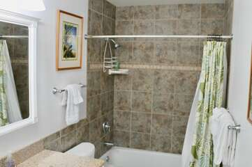 Bathroom 2 with Shower/Tub Combo and Green Curtain