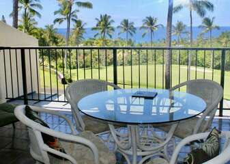 Outdoor Dining Table with Seating for 4 overlooking the Golf Course and Ocean