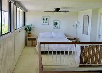 Loft with Bed, Long Windows, and a Ceiling Fan