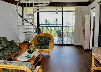 Spiral Staircase with Hawaii Furniture and Ocean Views at  Kona Country Club Villa