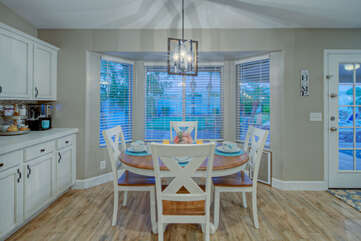 Enjoy coffee and formal or impromptu meals in naturally bright and pretty dining area