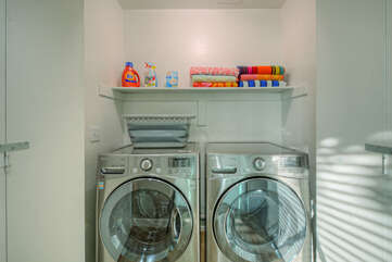 Keep your wardrobe ready for the next outing with well stocked laundry room and family size appliances