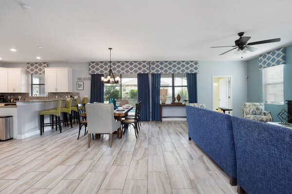 The open concept floor-plan is perfect for getting the whole family together