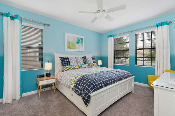 Ground floor master suite has a king bed