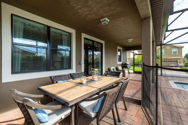 Dine outside at the dining table which seats up to 6 guests. Optional BBQ available for rental