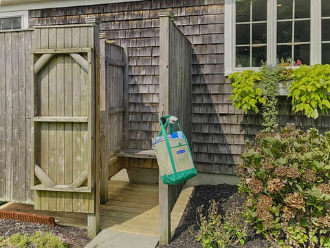 Outside shower - a Cape Cod tradition at 40 Tip Cart Chatham Cape Cod - New England Vacation Rentals