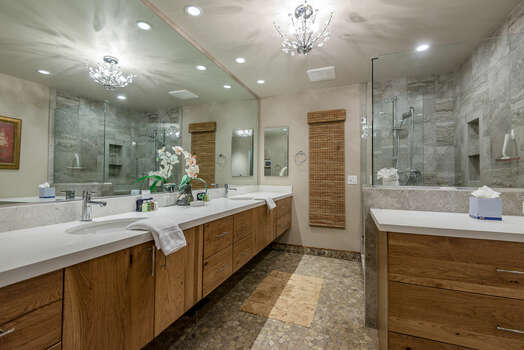 Master Bath with Dual Stone Counter Sinks and Oversized Shower