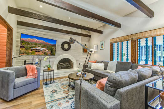 High Ceiling with Wood Beams