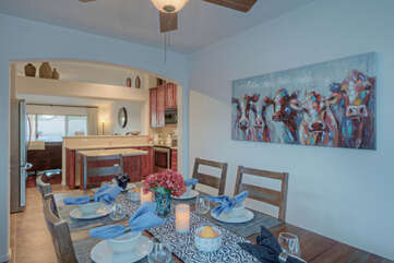 Dining area is ideal for more formal meals or special guests.