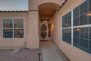 Private entrance to our 3 BR, 2 BA home in upscale Gold Canyon neighborhood.