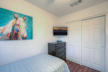 The bedroom floor plan is split to provide privacy for families and couples.