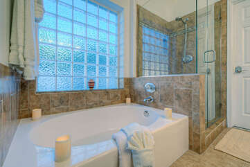Luxurious garden tub will soothe tired muscles and melt away your stress.
