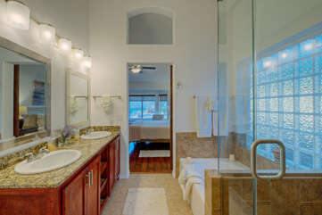Feel refreshed after a shower in the new walk-in glass shower.