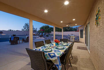 The covered patio will be your favorite place to gather both day and night.