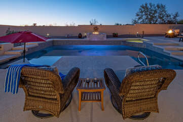 The pool can be heated during our cooler months for an additional fee.