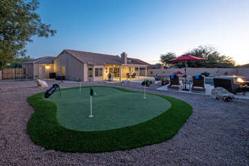 A new putting green has been added for warming up your shots before you head to a nearby course.