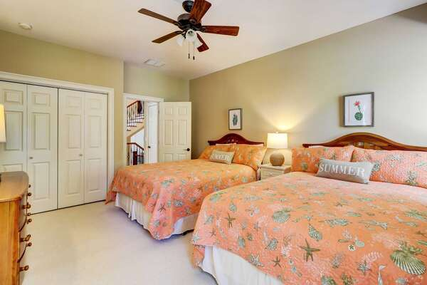Bedroom 2: 2 Queen beds, flat panel smart TV, private bath with walk in shower. Located on second level
