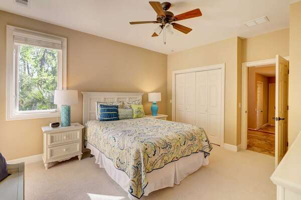 Bedroom 3: 1 Queen bed, flat panel smart TV, private bath with walk in shower. Located on second level