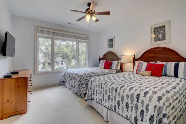 Bedroom 5: 2 Queen beds, flat panel smart TV, private bath with tub/shower combo. Located on second level