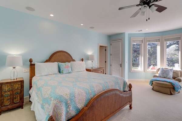 Bedroom 6: 2nd master suite – King bed, smart TV, upper deck access and private bath with soaking tub and walk in shower.