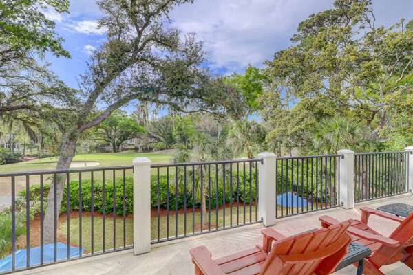 Upstairs master deck offers golf and lagoon views and plenty of sun bathing opportunity