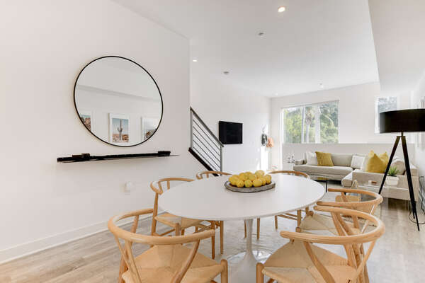 Entry Level Dining Area in our San Diego Townhouse Rental Seats 6