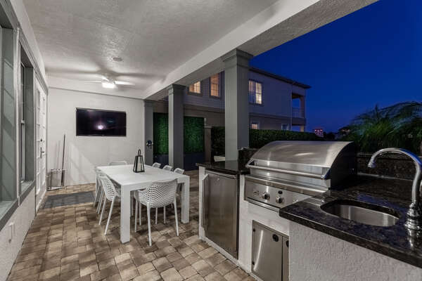 Keep up with the big game while you eat on the outdoor TV
