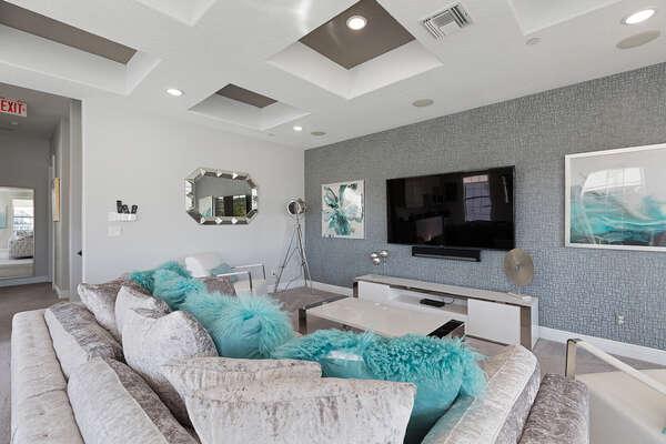 Unwind on this comfortable sofa