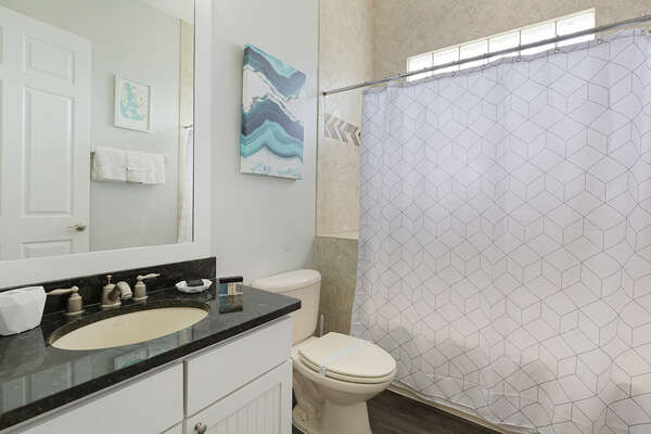 Both second floor bedrooms have easy access to this shared bathroom