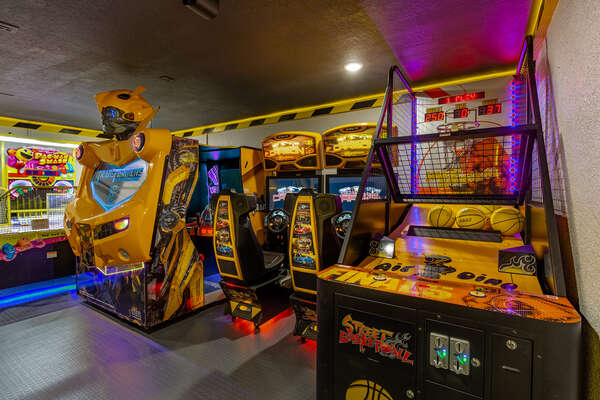 Transformers, basketball arcade and 2 Need for Speed racer arcades