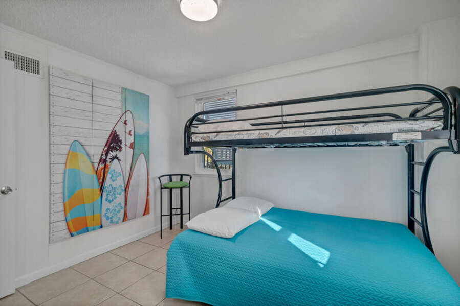 Guest Bedroom with Bunk Bed Featuring Twin over Full Size Beds