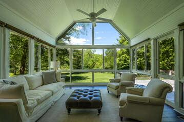 Sunroom overlooking the backyard