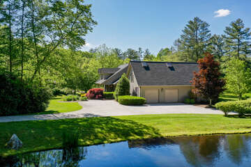 Two Car Garage with Pond