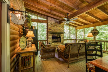 Screened Patio with Wood Burning Fireplace