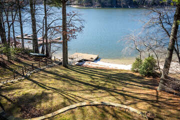 Back Yard with Dock on Lake Glenville with Canoe available
