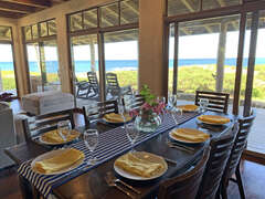 Dining looks out to a lovely ocean view