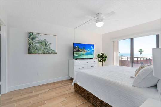 Pick your view - the crashing waves, or the huge smart TV!