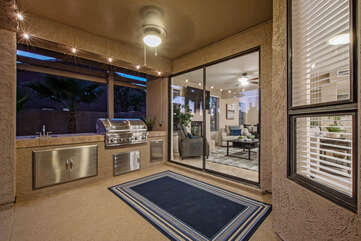 The outdoor chef will love the new built-in gas grill on the covered patio.
