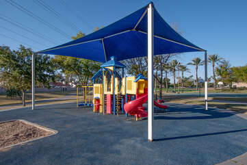 Sidewalks connect the community parks and playgrounds.