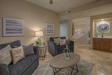 Great room provides a large gathering area with comfortable seating for many plus 2 oversized sleeper chairs.